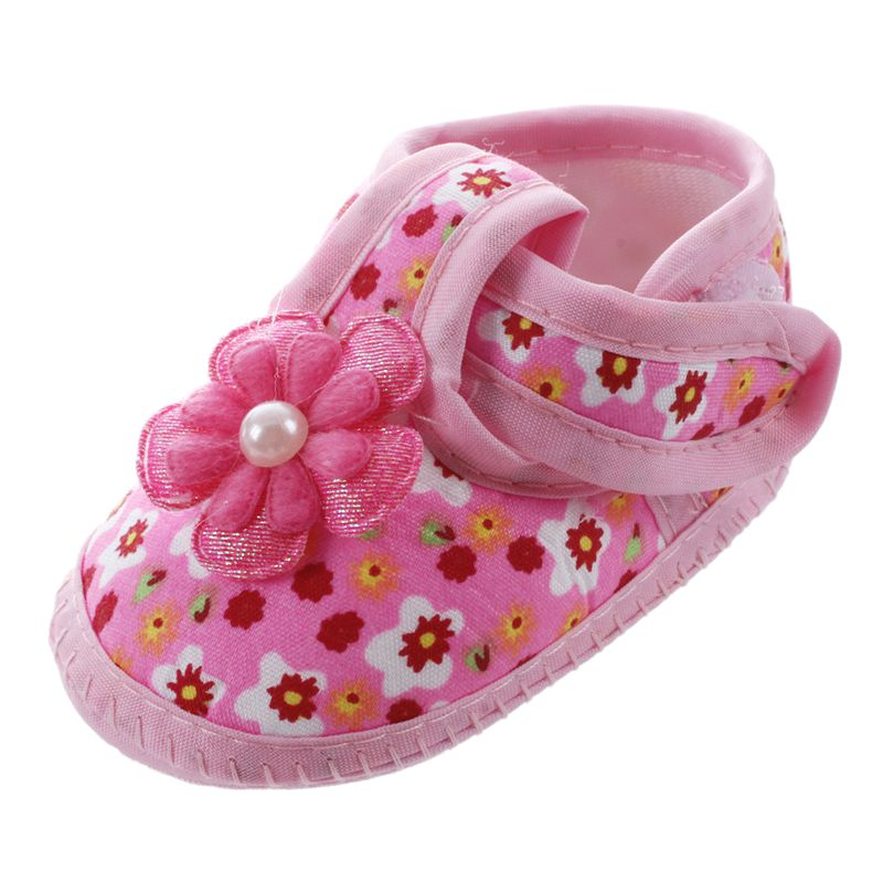 1 Pair Soft Baby Chaussure Infant Girls Flower Printed Cloth Boots Crib Shoes Gift, Pink 11cm