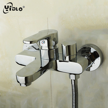 Bathroom Wall Mounted Brass Faucet Silver Shower Faucets Cold And Hot Mixing Water Tap Polished Dual Handle Dual Control Tap B21 цены
