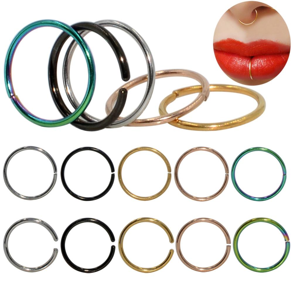 2pcs Surgical Steel Thin Nose Hoop Ring Septum Helix Nostril Piercing Labret Lip Fake Piercing Titanium Cartilage Fake Earrings