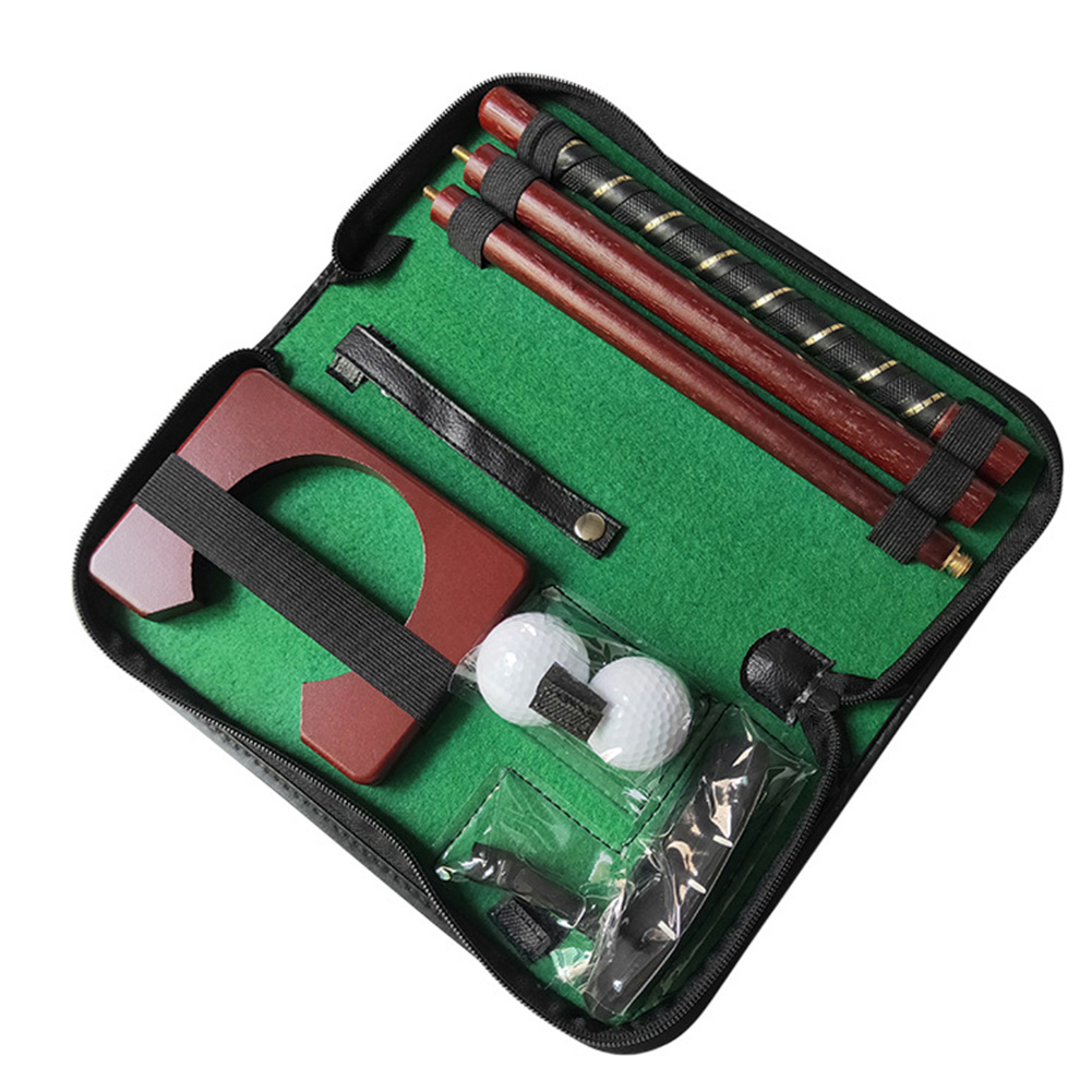 Travel Ball Holder Training Aids Golf Putter Set Carry Case Portable Sports Wood Indoor Equipment Mini Putting Gift Practice