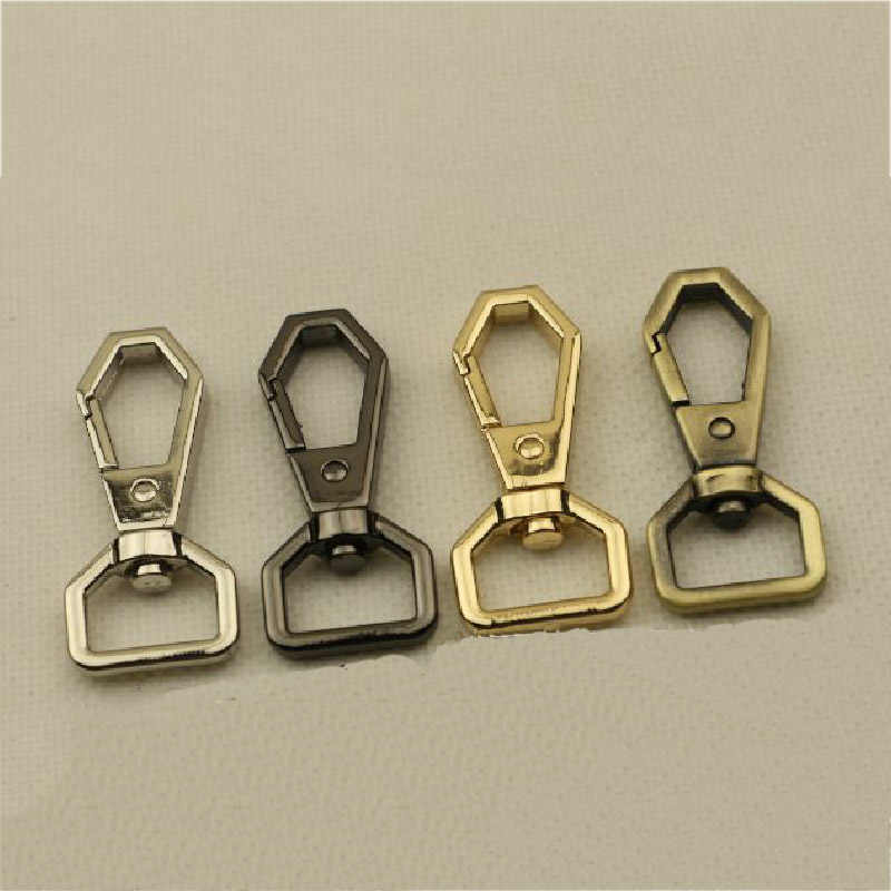 2PCS Metal Polygonal Spring Gate Clasp Clip Leather Belt Pet Leash Bag Strap Hook Buckle Webbing Keychain Bag Parts Accessories