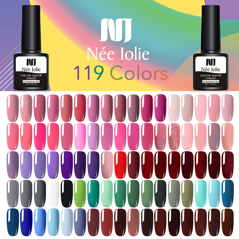 NEE JOLIE 8ml Base Top Coat Semi-transparent Pink Nude Color Gel Polish Soak Off Nail Art UV Gel Lacquer New Design