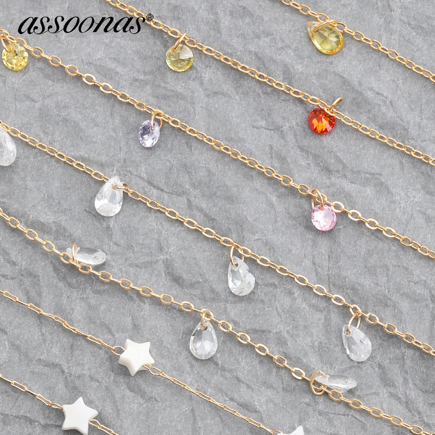 Assoonas C45,chain,jewelry Accessories,jewelry Making,hand Made,charm,jewelry Findings,Golden Gemstone Chain,diy Chain,1m/lot