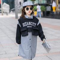 2020 Children's Clothing Girls Long Sleeve Clothes Set Outfits Kids Spring Winter Suit Ropa Para Adolecentes Coats + Plaid Dress