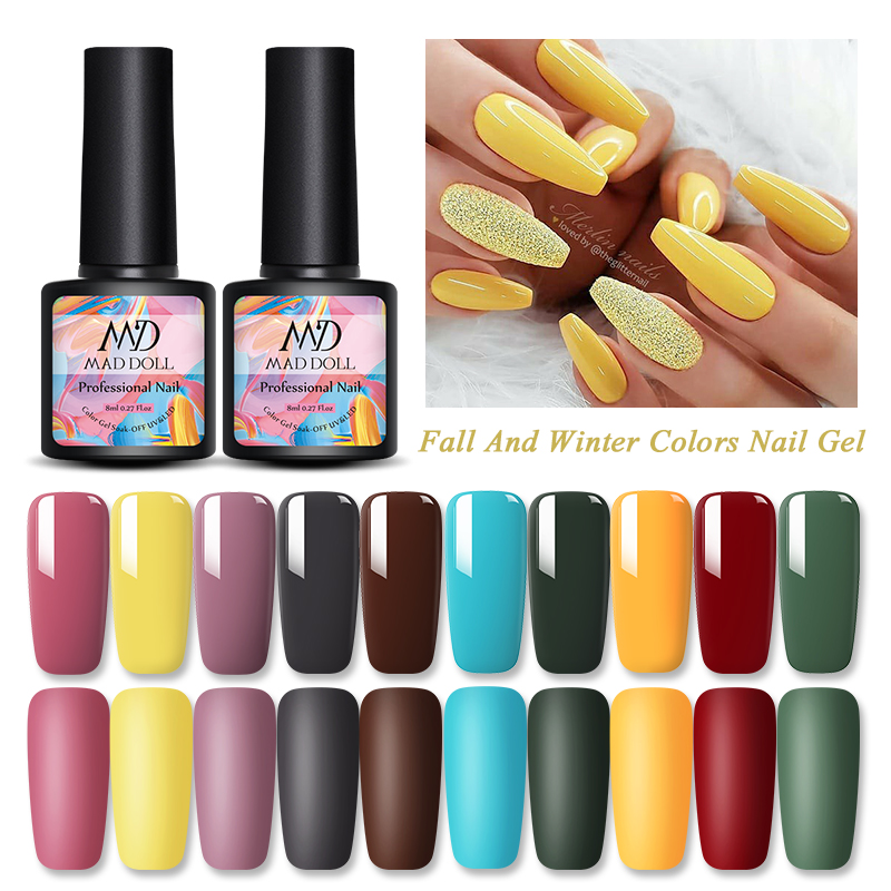 1 Bottle MAD DOLL Nail Gel Polish Shimmering Colorful Gel Polish Yellow Fall Winter Series Long Lasting Soak Off UV Gel Polish