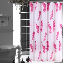Shower Curtain Floral Fabric Mildew Resistant Waterproof Bath Curtains for Women Bathroom 12pcs Hooks white embroidered short curtain for kitchen floral sheer tulle curtains for bedroom voile window screening curtain blinds drapes