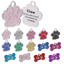 Collar Tag Pendant Pet-Accessories Dog-Tags Engraved Glitter Id-Name Personalized Bone/paw