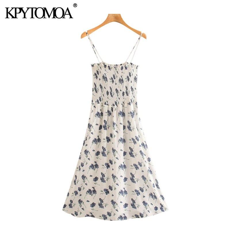 KPYTOMOA Women 2020 Chic Fashion Floral Print Elastic Smocked Midi Dress Vintage Backless Thin Straps Female Dresses Vestidos