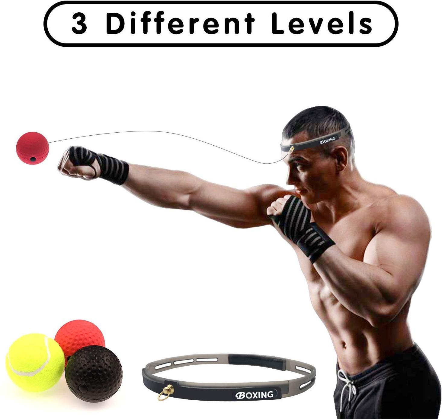 Boxing Ball On String Sports Speed Reactions MMA Fighting Training Karate Muay Thai Silicone Head Bands Kids Exercise Equipment