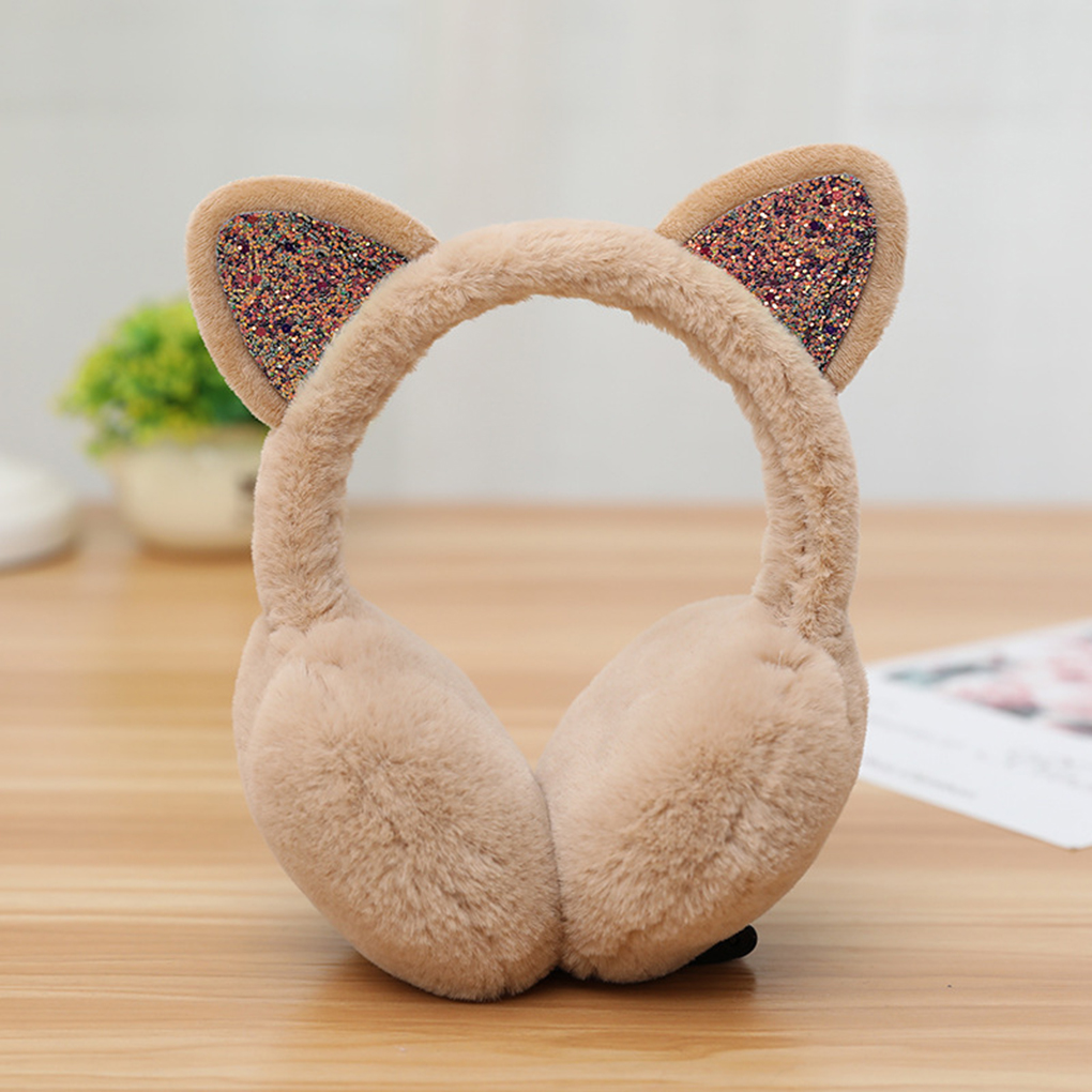 Fashion Women Girls Fur Winter Ear Warmer Earmuffs Cute Cat Ear Muffs Plush Elastic Outdoor Winter Ear Covers Ear Warmers