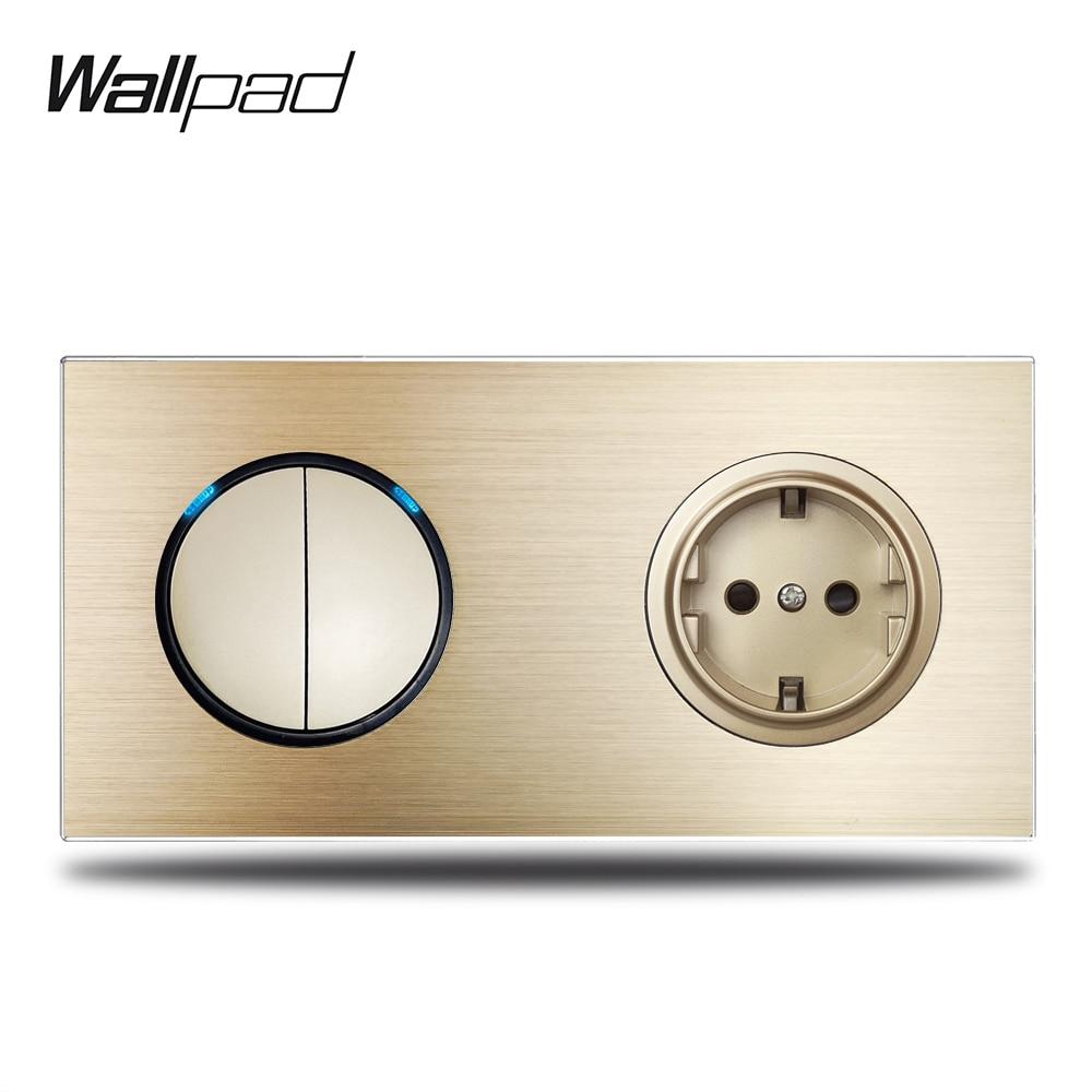 Wallpad L6 Gold 2 Gang Light Switch Blue LED Indicator with EU Electric Power Socket Gold  Brushed Aluminum Metal Panel