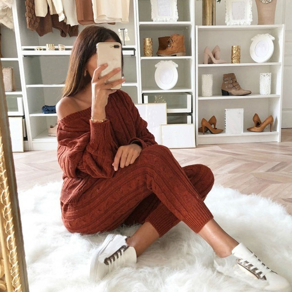 PUIMENTIUA Knitted <font><b>2</b></font> <font><b>Piece</b></font> <font><b>Set</b></font> <font><b>Women</b></font> Long Sleeve Crop Tops And Long Pants <font><b>Sexy</b></font> 2019 Autumn Winter Sweater Two <font><b>Piece</b></font> <font><b>Set</b></font> Outfits image