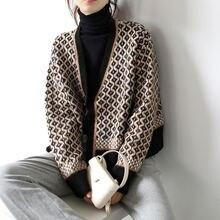 Пальто свитер 2021 на осень зиму в Корейском стиле ретро контрастные