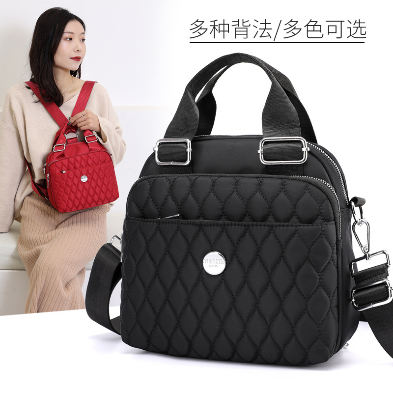 One-Shoulder Oblique Backpack New Style Waterproof Nylon Cloth Handbag Multi-Compartment Shoulder Bag Multi-Purpose Backpack WOM