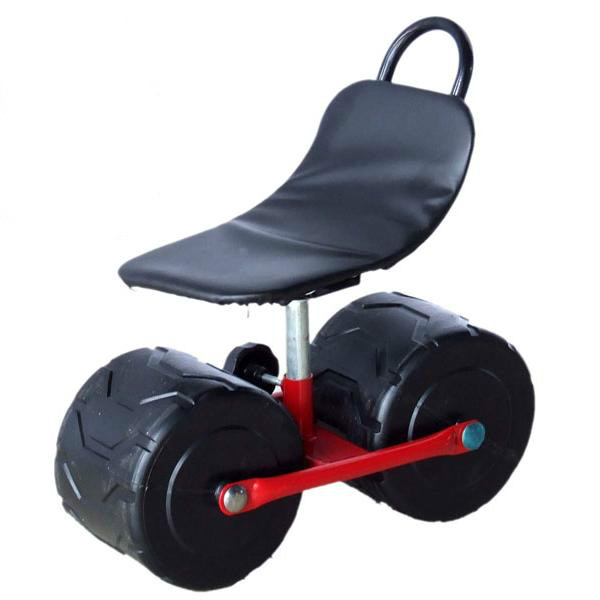 Firm iron Garden cart tool Planting picking stool Comfortable PU sponge seat Pad Moving chair with wheels Supplies