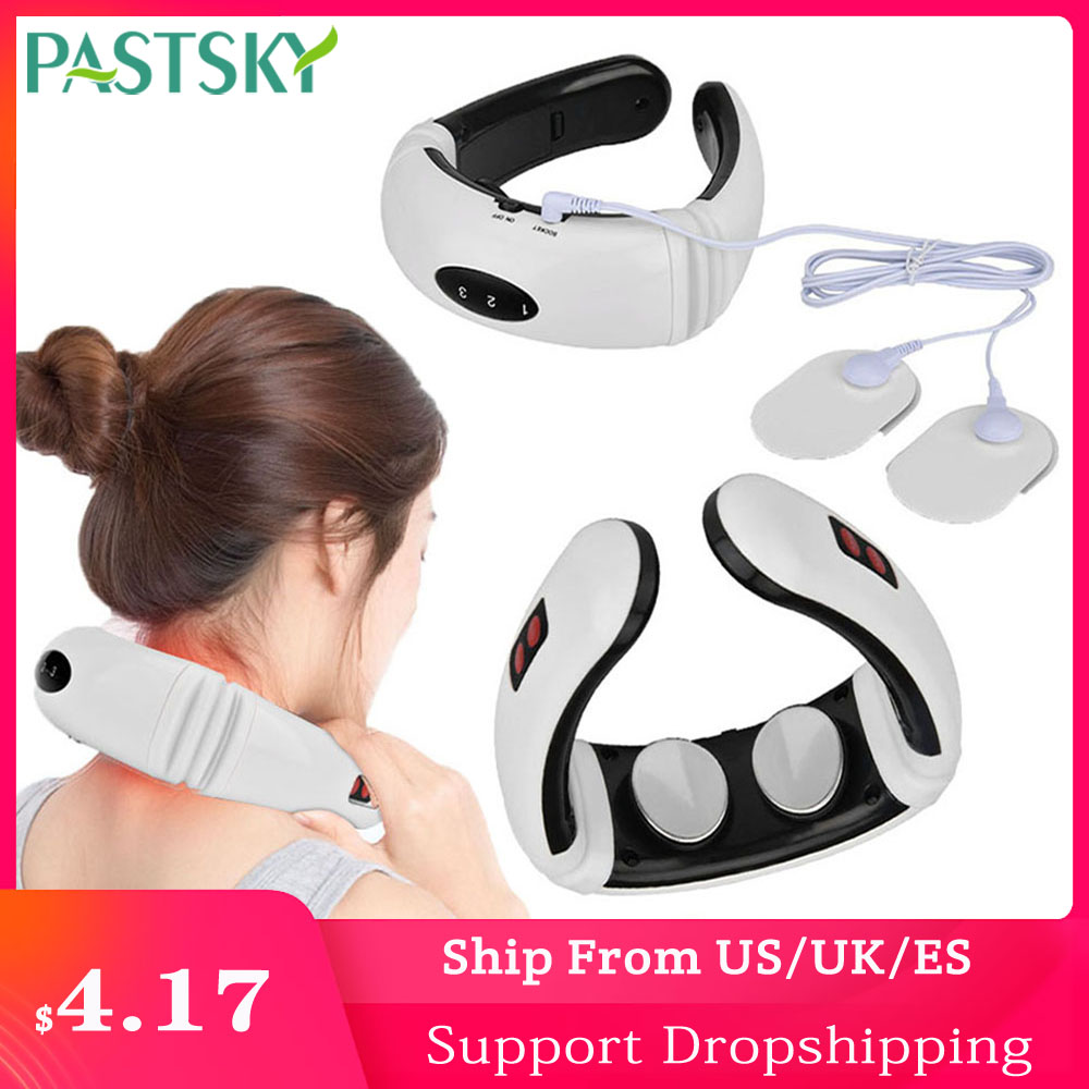Electric Pulse Neck Massager Far Infrared Heating Cervical Vibration Pain Relief Multifunctional Relaxation Physiotherap Therapy