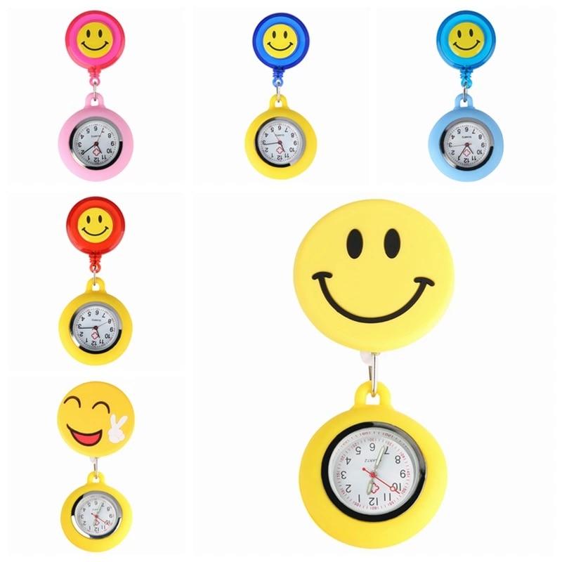 Модные желтые милые наручные часы с креплением на цепочке с подвеской в виде улыбающегося сердца, кварцевые карманные Регулируемые часы дл...