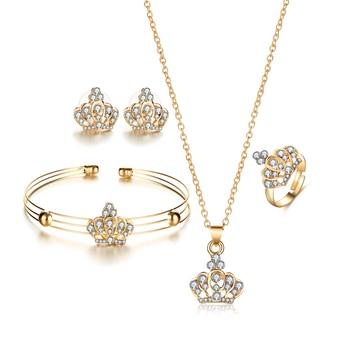 5Pcs/Set Alloy Jewelry Set Crown Pendant Necklace +Stud Earrings+Ring+Bracelet Fine Jewelry Set For Women Engagement Decor