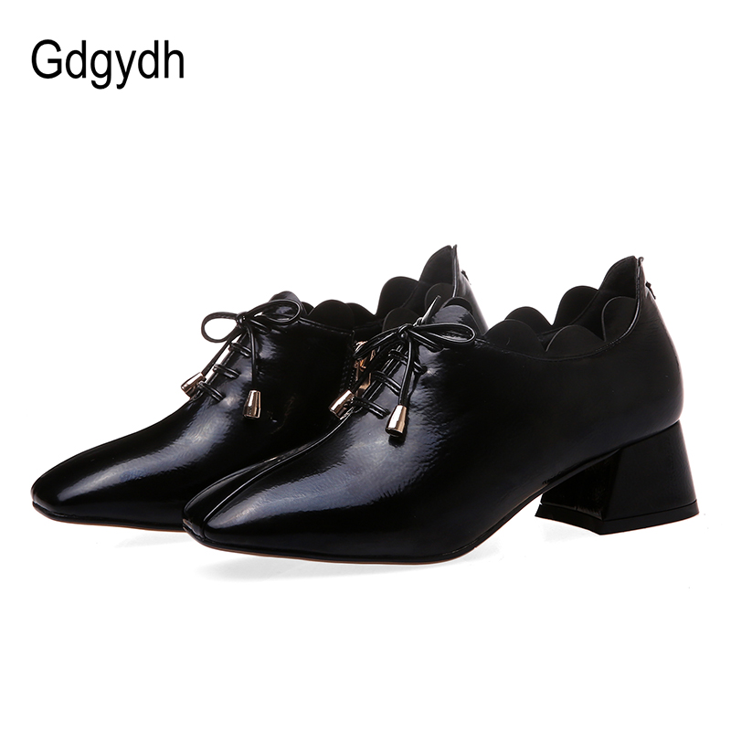 Gdgydh Big Size Female Office Shoes Chunky Heels Woman Shoes Lace Up Black Red Women Heel Pumps Ruffles Zipper Comfortable 2020