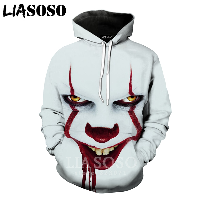 LIASOSO New Men Women Pennywise Sweatshirt 3D Print Horror Movie It Chapter Two Clown T Shirt Top Hoodies O Neck Pullover A305-3