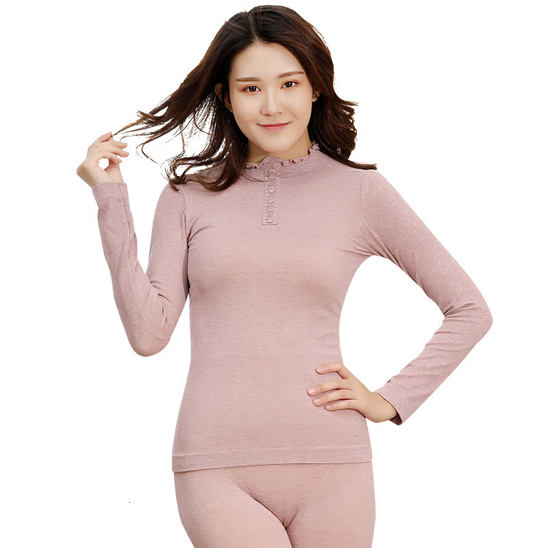 Seamless  Beautiful Body Keep Warm Underwear Set Woman High Collar Long Johns Set