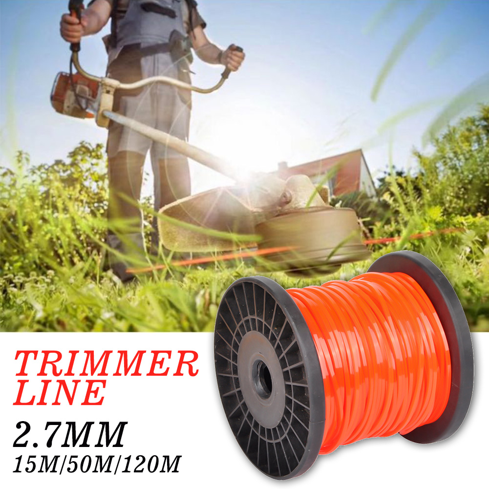 15/50/120m Grass Cutting Square Wire Trimmer Line Agriculture Accessories Nylon Rope Universal 2.7mm Lawn Brushcutter Tools
