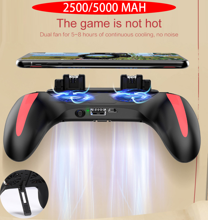 H10 Gamepad Pubg Controller Double Cool Fan 5000 Mah Powerbank Game-Controller Android Joystick Mobile Game Pad