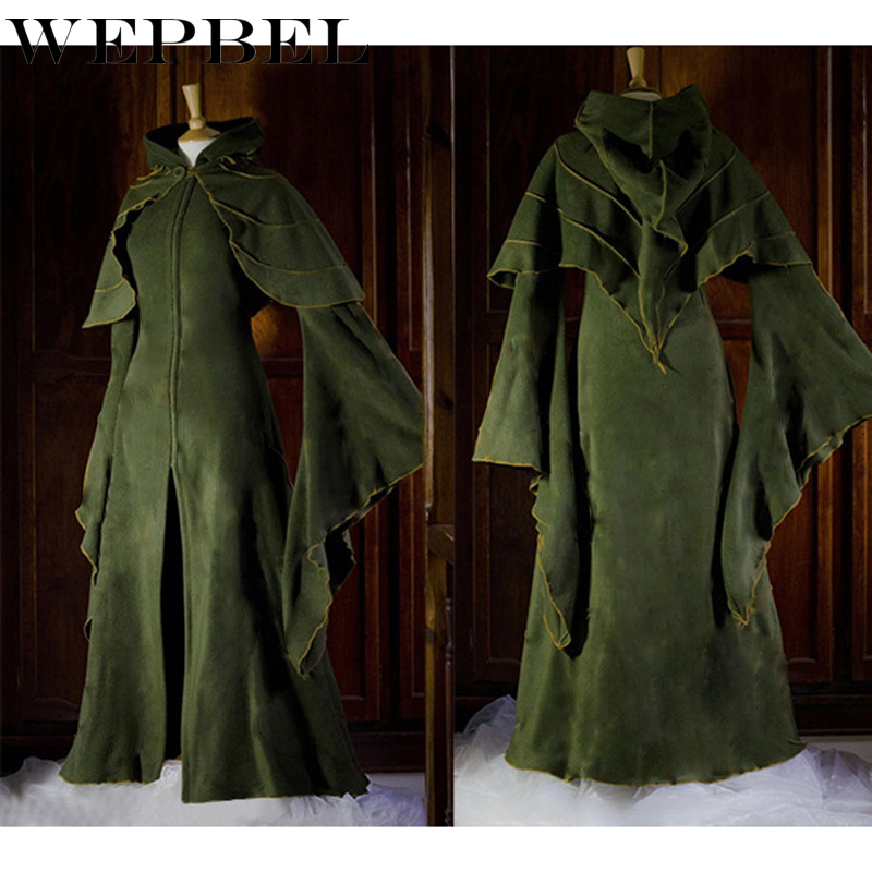 WEPBEL Vintage Dress Ladies Ball Gown Women's Dresses Medieval Gothic Retro Hooded Trumpet Sleeve Slim Fit Dress