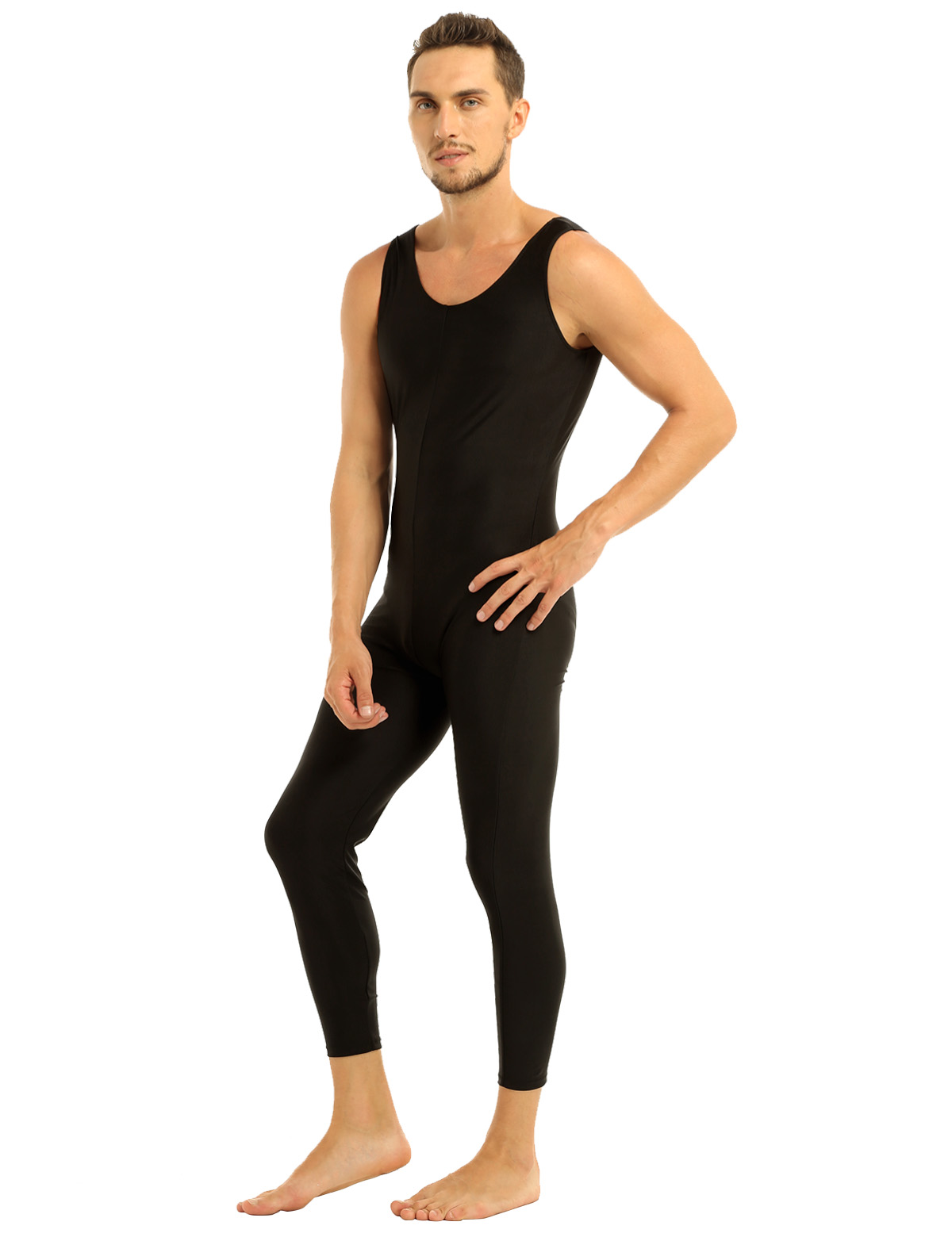 Men Sleeveless Leotard Bodysuit Lycra Tights Leggings for Ballet Dance Vest Teddy Sports Unitard Catsuit Male Dancewear Jumpsuit 30