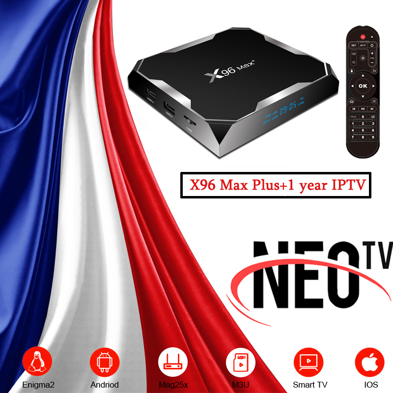 Android 9.0 X96 Max Plus Smart TV Box Amlogic S905X3 1Year Spanish Italy French Portuguese Neo IPTV Subscription Set Top Box