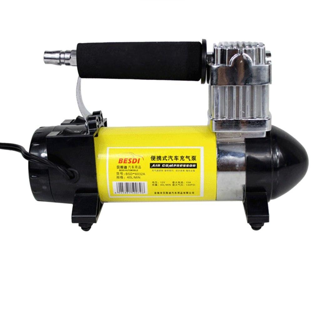 140PSI 40 л/мин надувной насос для автомобильных шин 150 Вт 12 В Портативный одноцилиндровый воздушный компрессор со светодиодный светильник для ...