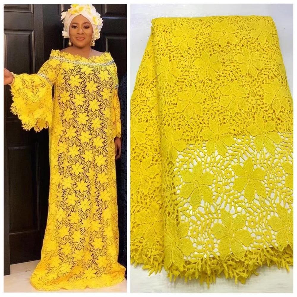 Anna sarı nijeryalı gipür dantel suda çözünür kumaş 2020 yüksek kaliteli işlemeli 5 metre/adet afrika kordon dantel örgü kumaşlar