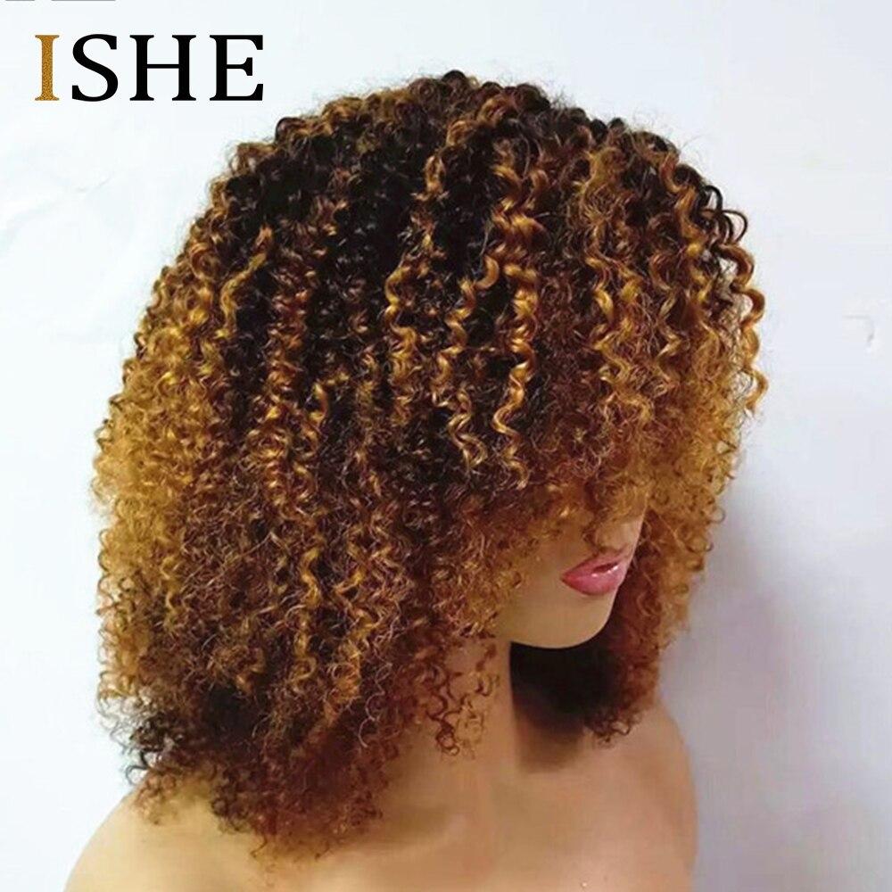 Afro crépus bouclés Ombre Blonde 13x6 dentelle avant perruques de cheveux humains pré plumé dentelle frontale perruque pour les femmes Remy noir cheveux 150 densité - 3