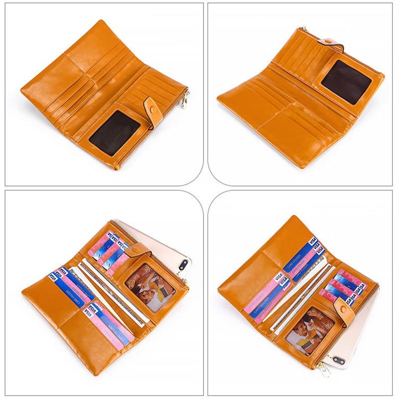 10 teile/los Mode Multifunktionale Geldbörse Aus Echtem Leder Brieftasche Frauen Lange Stil Rindsleder Handtasche Tasche - 6