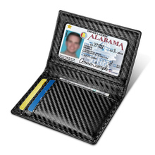 NewBring Carbon-Fiber-Look Leather ID Credit Card Holder RFID Blocking Wallet Cover Driver License Purse teemzone promotion top genuine leather trifold slim men wallet purse driver license credit card receipt holder id window j50