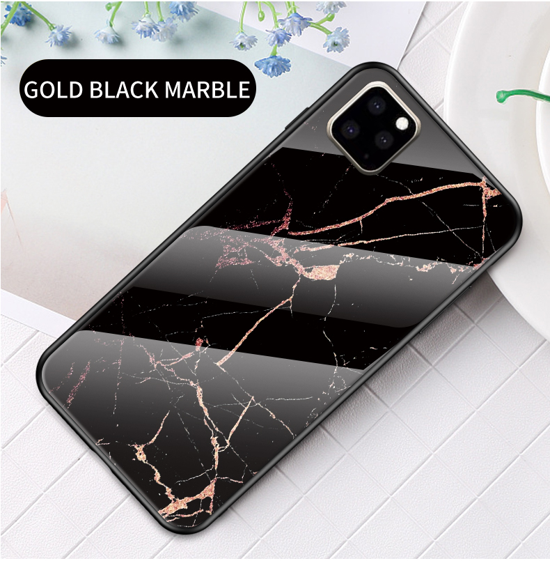 KEYSION Marble Tempered Glass Case for iPhone 11/11 Pro/11 Pro Max 12