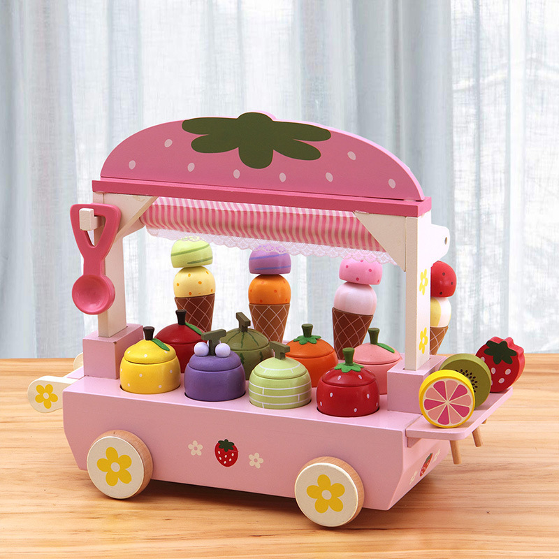 New Childen's Pretend Play Toys Wooden Simulation Ice Cream Tree Children's Play House Toy Ice Cream Cart For Boys And Girls