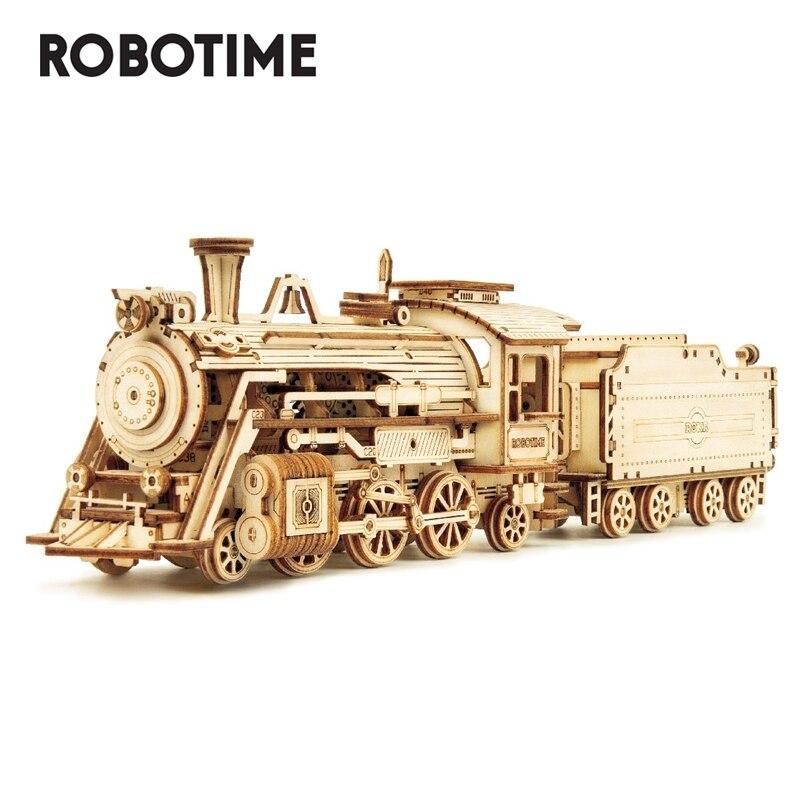 Модель поезда Robotime, 3D деревянная головоломка, игрушка в сборе, локомотивная модель, строительные комплекты для детей, подарок на день рожден...