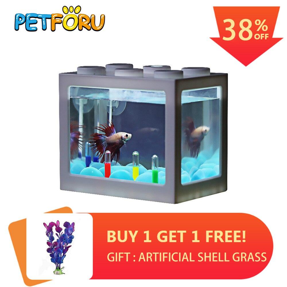 PETFORU Betta cylindre de lutte contre les poissons cylindre de poisson grondement Mini Aquarium bloc de construction réservoir de poissons