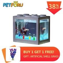 PETFORU Betta fish Fighting Cylinder Rumble Fish Mini Aquarium Building block tank