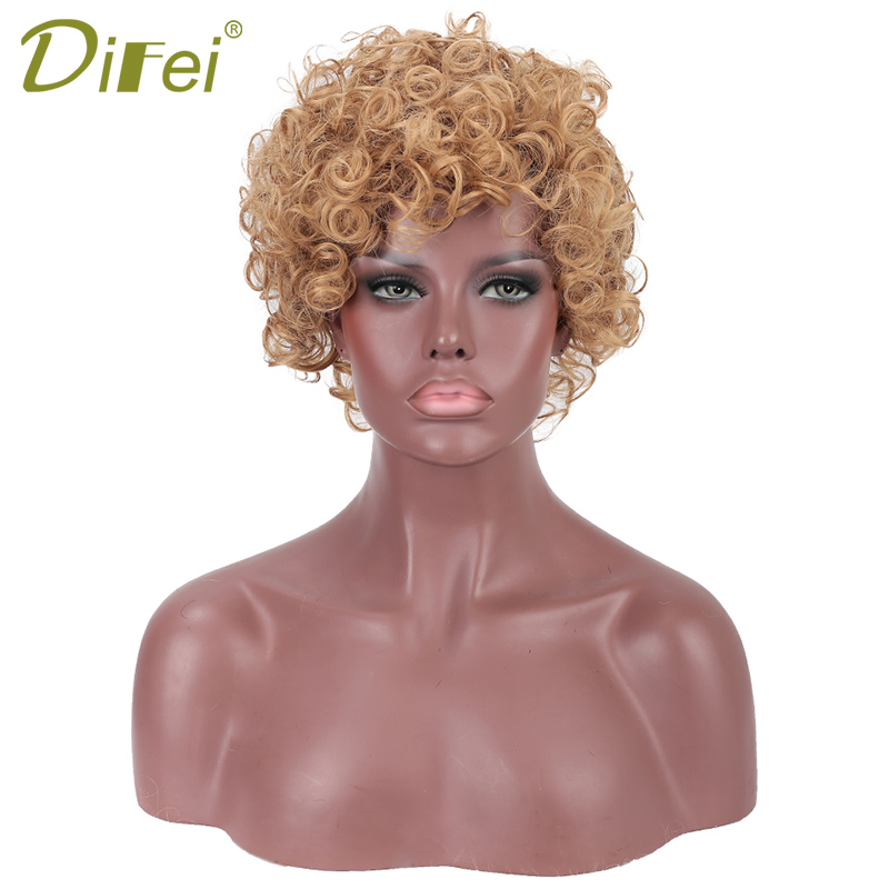 DIFEI 12 Inch Short Curly Hair Synthetic  Wigs Brazilian  Women Blonde Brown  Black Wigs
