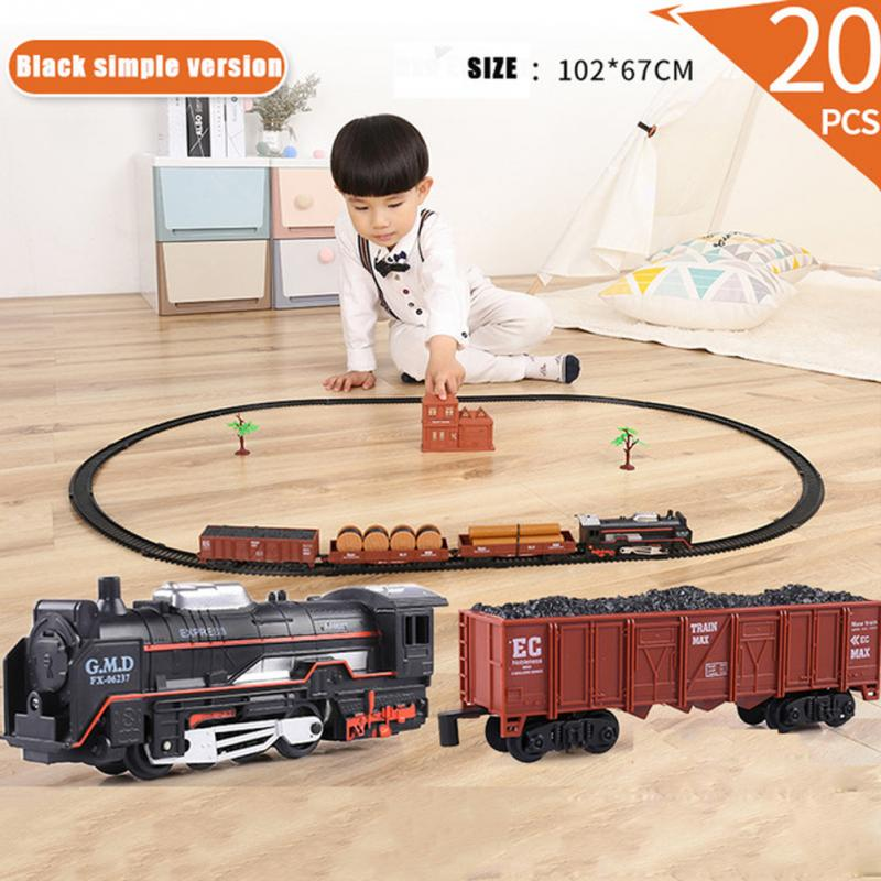 Educational Railroad Steam Assembly Toy Early Learning Transportation Track Model Electric Train Set Classic Light Sound