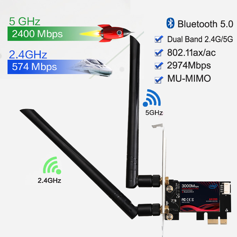 Dual Band 2 4G 5G 3000Mbps Wireless Network Card PCIE Wifi Adapter For Desktop PC With Intel WiFi 6 AX200 Bluetooth 5 0 802 11ax