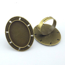 18*25mm 5pcs Ring Setting Antique Bronze Plated Adjustable Oval Glass Cabochon Blank Base Supplies for Jewelry F101