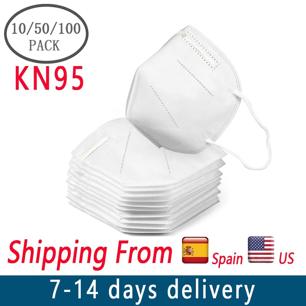 100pcs Pm2.5 N95 Dust Mask 3 Layers Filter Respirator Face Mask KN95 Mask Filter Against Droplelt N95 Mask As FFP2 Mascherine