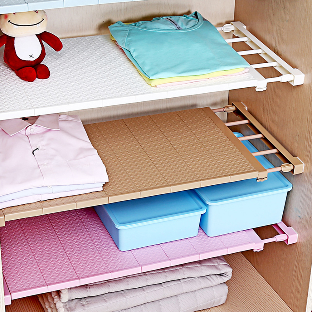 1PC Adjustable Closet Organizer Storage Shelf Space Saving Wardrobe Decorative Shelves Cabinet Holders Wall Mounted Kitchen Rack