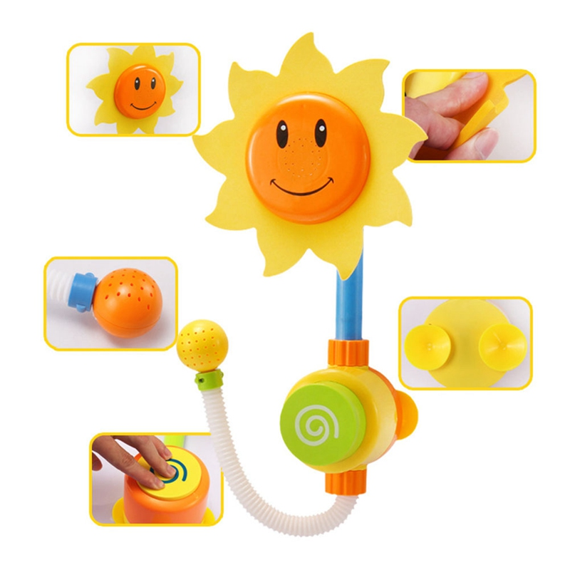 Children Funny Water Game Bath Toy Bathing Tub Sunflower Shower Faucet Spray Water Swimming Bathroom Bath Toys Baby Favourite image