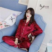 Taklit ipek elastik ipek saten katı yeşil kırmızı pijama kadın ev giyim pijama