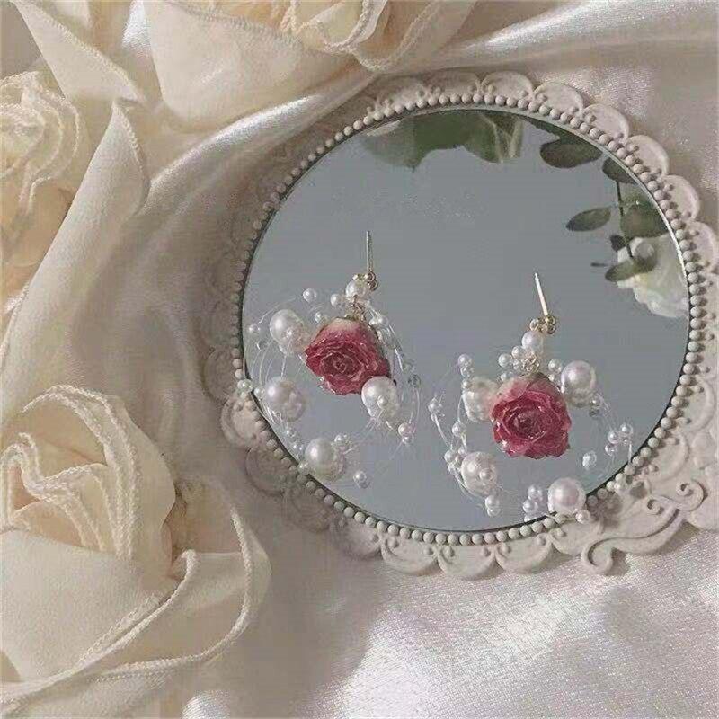 customized earings fringe earrings  womens ear Royal earrings Vintage rose earrings Immortal flower drops glue ear nail Handmade