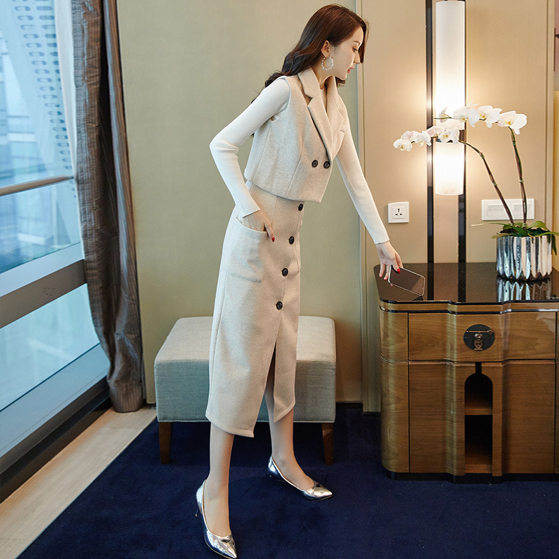Autumn WOMEN'S Dress-Style New Style WOMEN'S Suit 2019 Korean-style Woolen Vest Skirt Casual Two-Piece 9335
